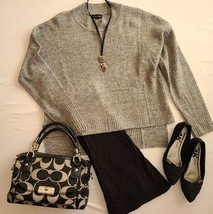 Grey Neck High Sweater